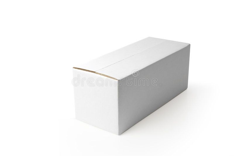 Blank box Closed rectangular blank isolated box on white background