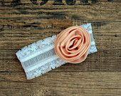 Baby Headband, Lace Baby Headband, flower baby headband, big flower headband,  Dark salmon baby headband, satin rose, lace