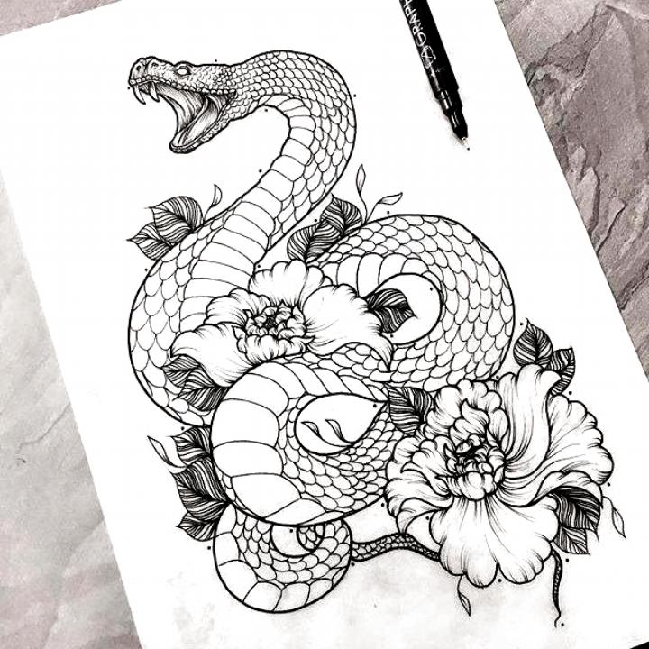 Tattoo Art Snake Flowers Drawing Omg Tho Snake Flowers Tatow Art Drawing Flowers Omg Snake Tatow Tattoo Sleeve Tattoos Tattoo Outline Tattoo Designs