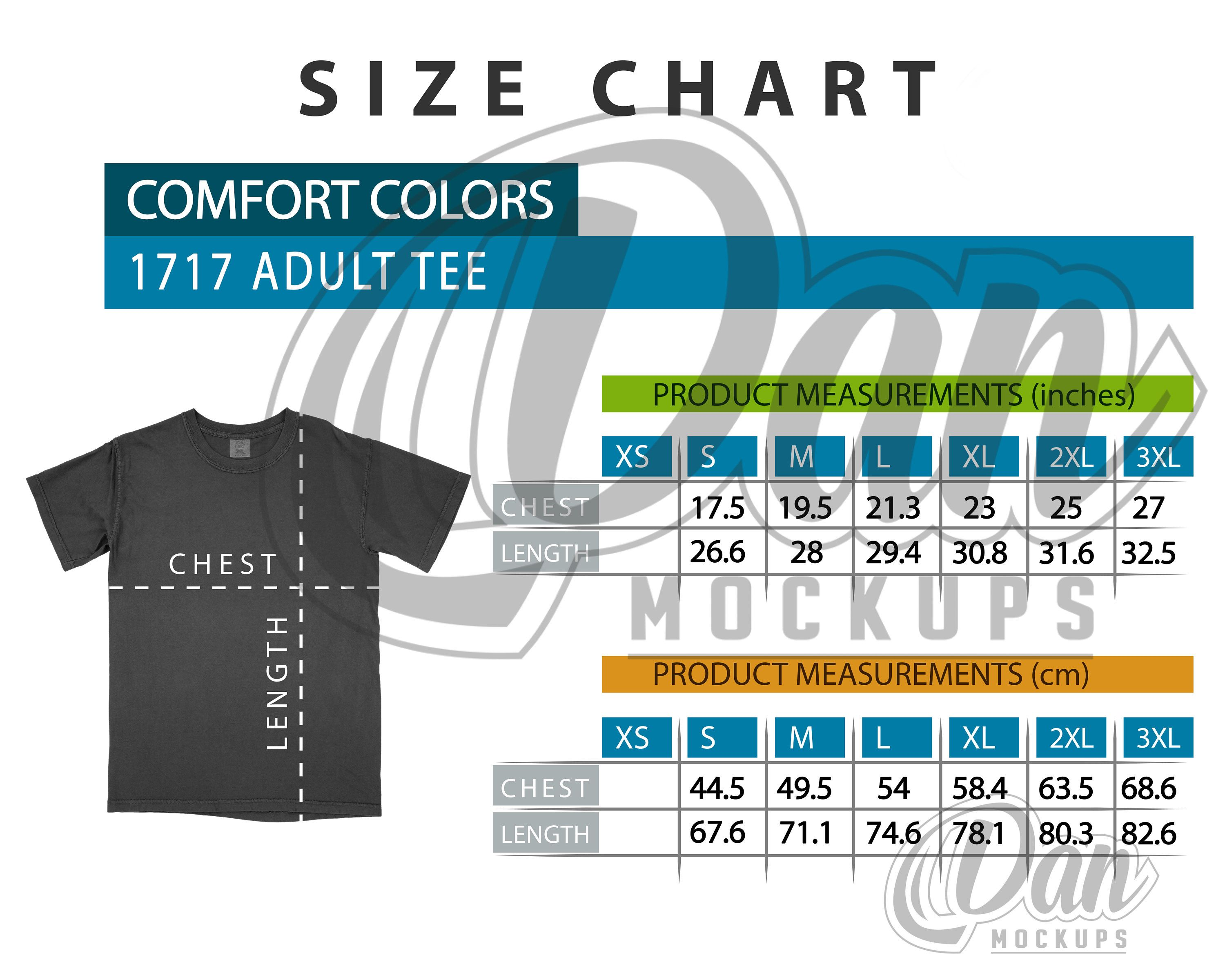 Pin On Comfort Colors Size Chart Tees