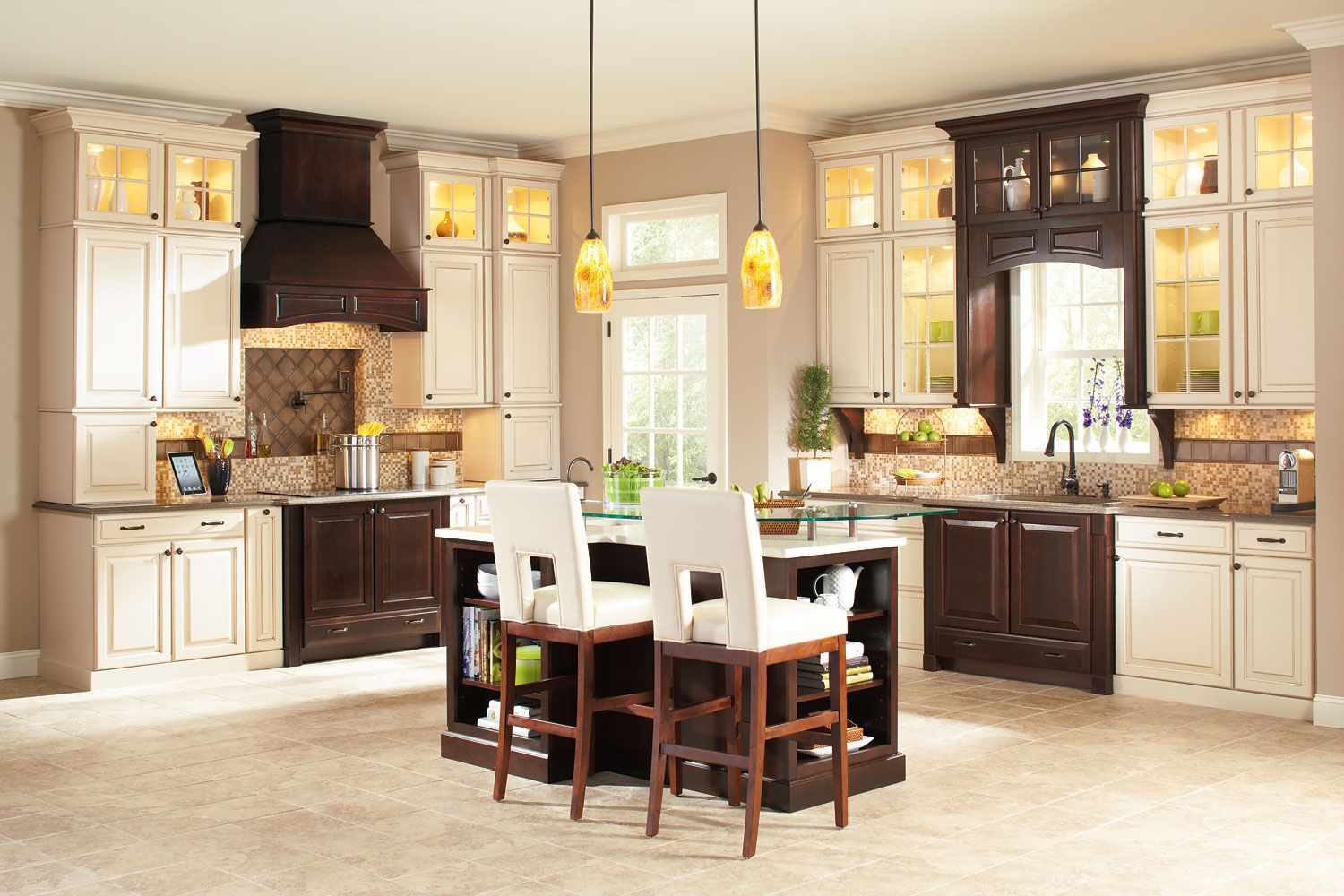 Two Toned Timberlake Cabinets With Chimney And Hood Accent Interiors Quality Kitchen Cabinets Corner Kitchen Cabinet Kitchen Redo
