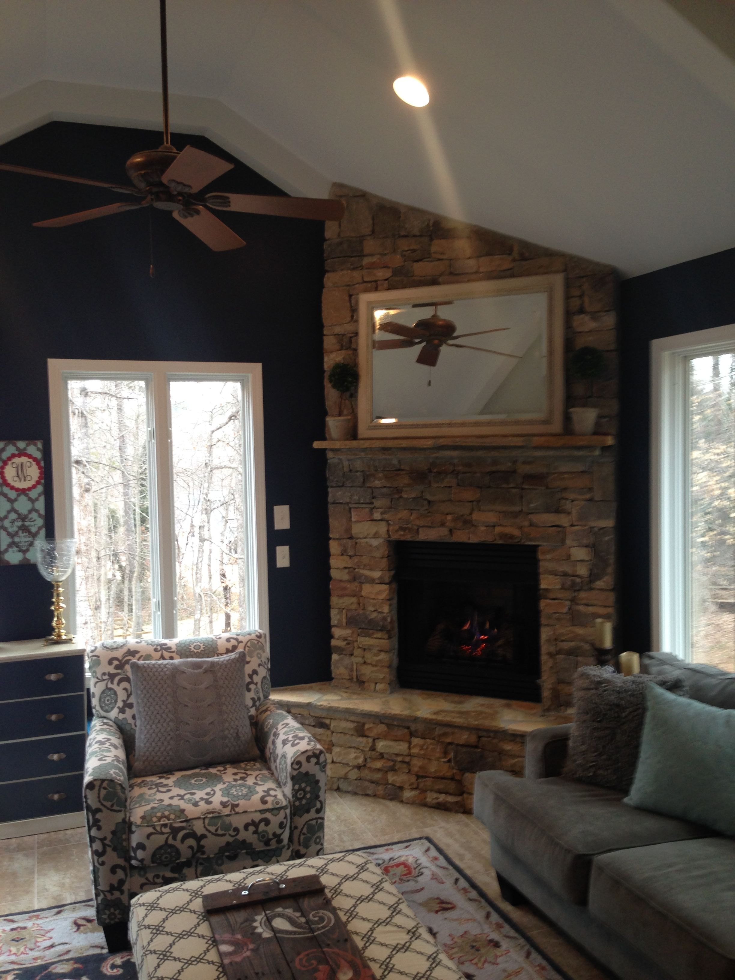 After photo sherwin williams duration matte naval 6244 - Sherwin williams interior paint finishes ...