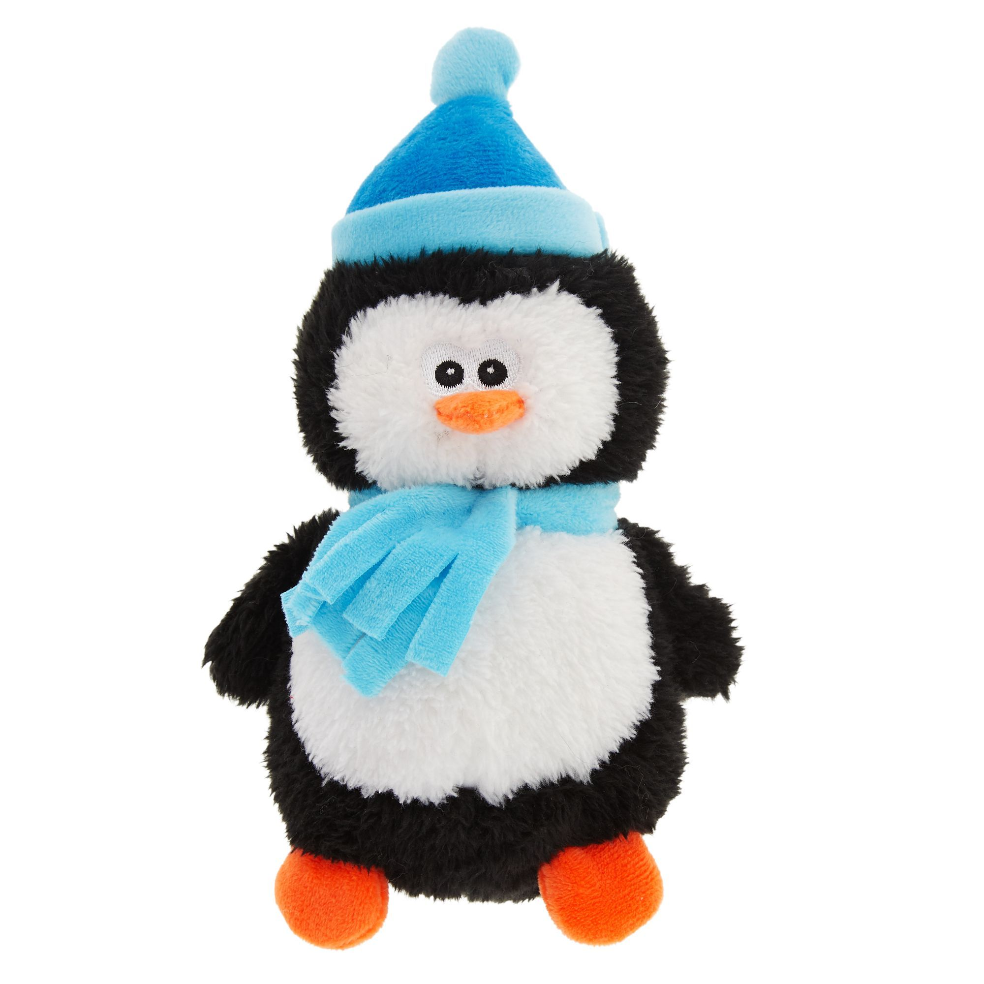 Merry And Bright Holiday Penguin Dog Toy Plush Squeaker Merry