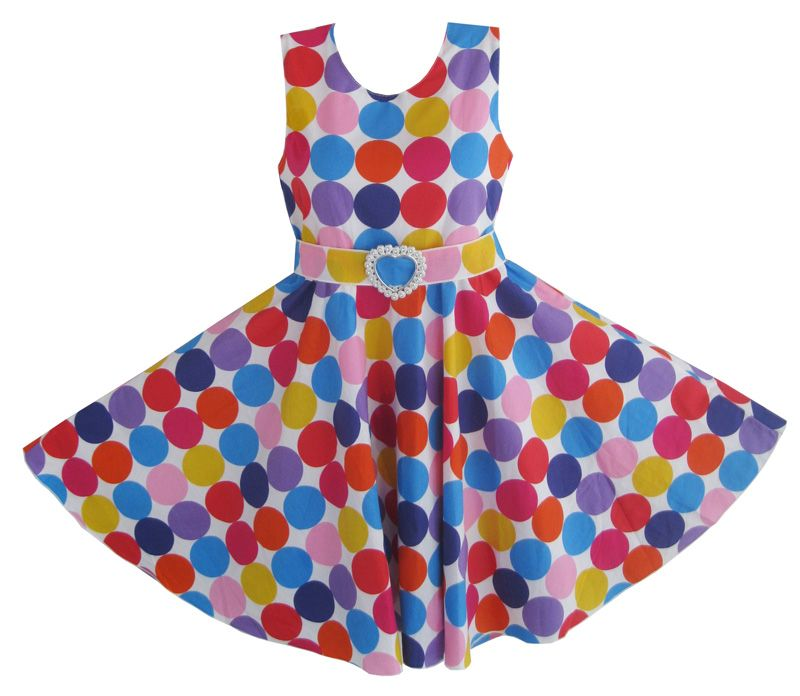 Girls Dress with Hat Colorful Dot Party Sundress
