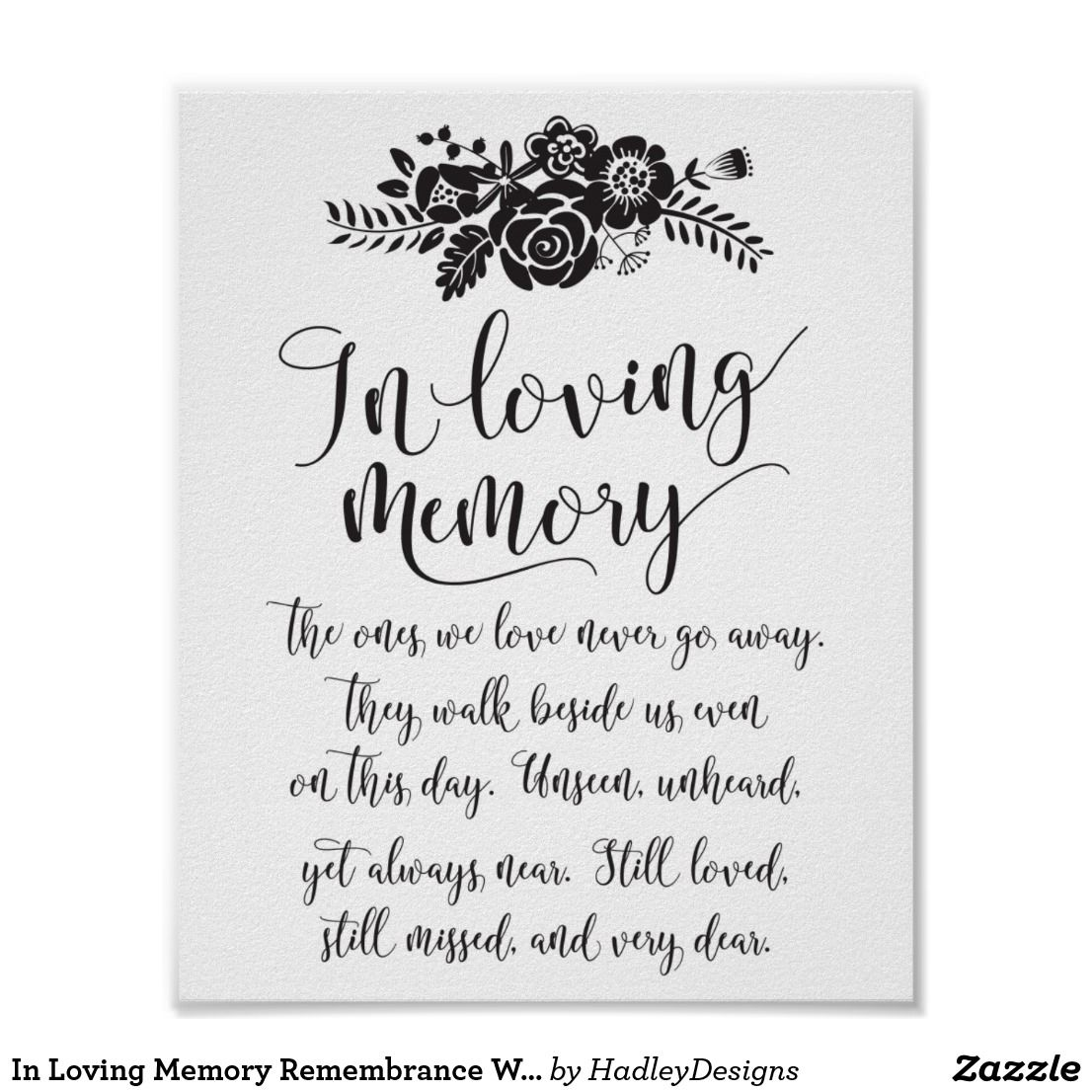 In Loving Memory Remembrance Wedding Ceremony Sign | Wedding ...