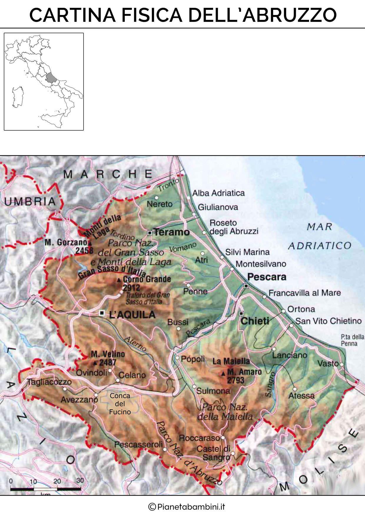 Cartina Muta Fisica E Politica Dell Abruzzo Da Stampare