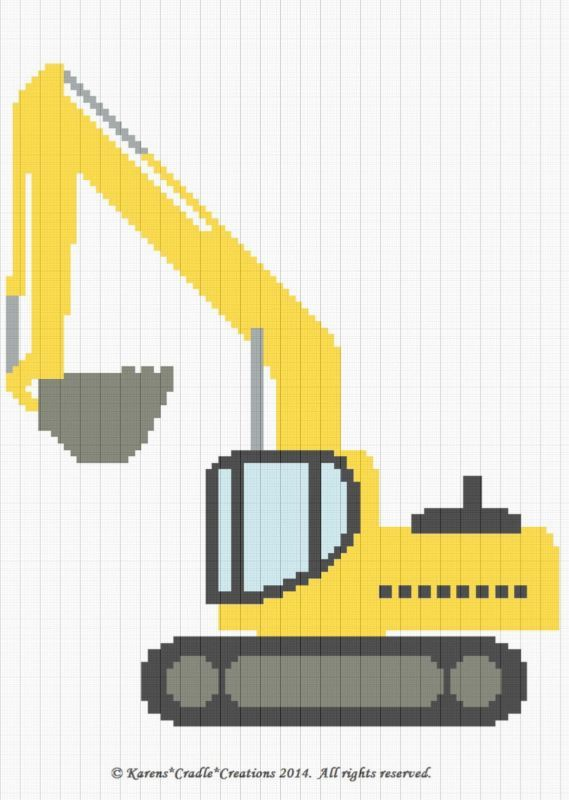 Crochet Patterns - EXCAVATOR CONSTRUCTION VEHICLE Baby Graph Afghan ...