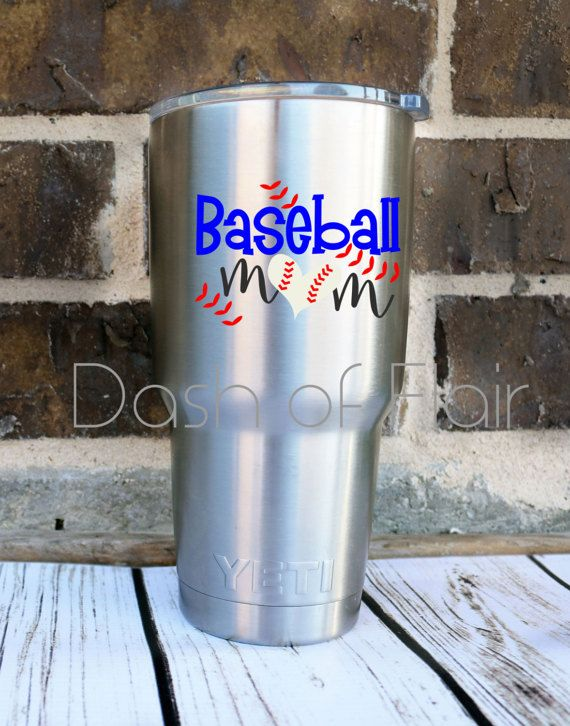 Baseball Mom Decal READY TO SHIP Baseball Yeti Decal Baseball - Custom vinyl baseball decals
