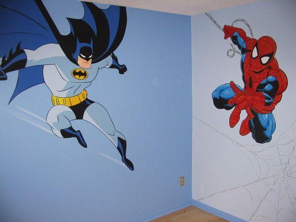 Spiderman Wall Mural batman and spiderman wall murals decorating ideas | ben's room