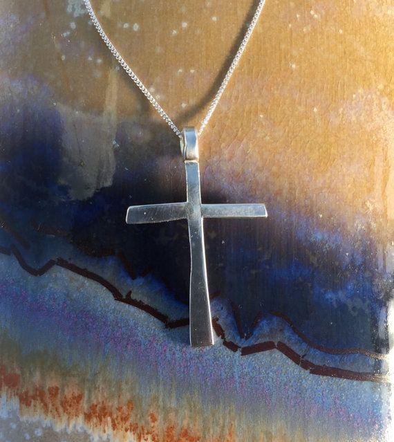 Shiny sterling silver cross handmade Jesus cross by Silvercrosses