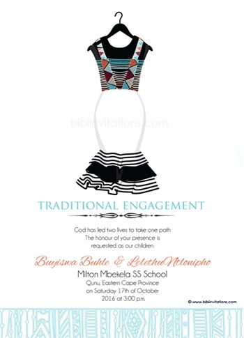 Sithandiwe Xhosa Traditional Wedding Invitation In 2019 Xhosa