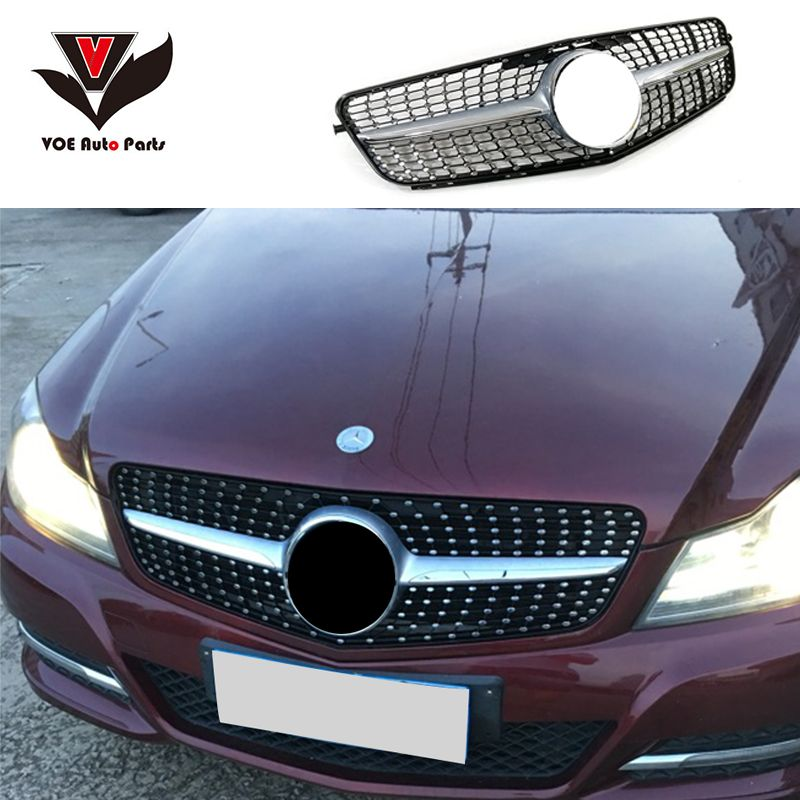 W204 Diamond Style Black Silver Front Racing Grill Grille For