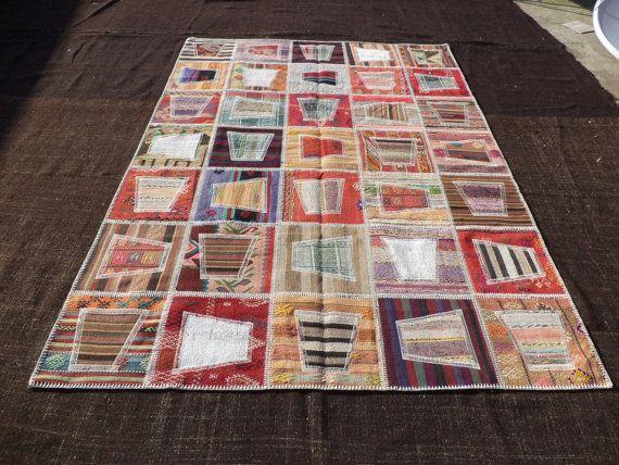 "Patchwork Rug,9""x6,5"" Feet 277x191 Cm Living Room Floor Decor Turkish Kilim Rug Pathcwork.Decorative Kilim Pathcwork Rug."