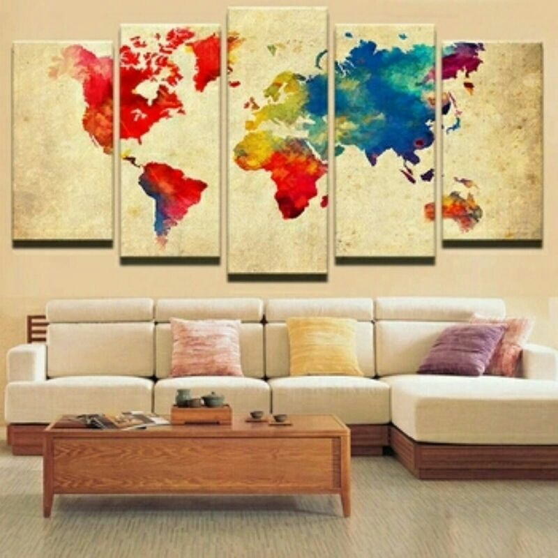 World Map 5 Piece Wall Art on Canvas **WORLDWIDE SHIPPING AVAILABLE ...