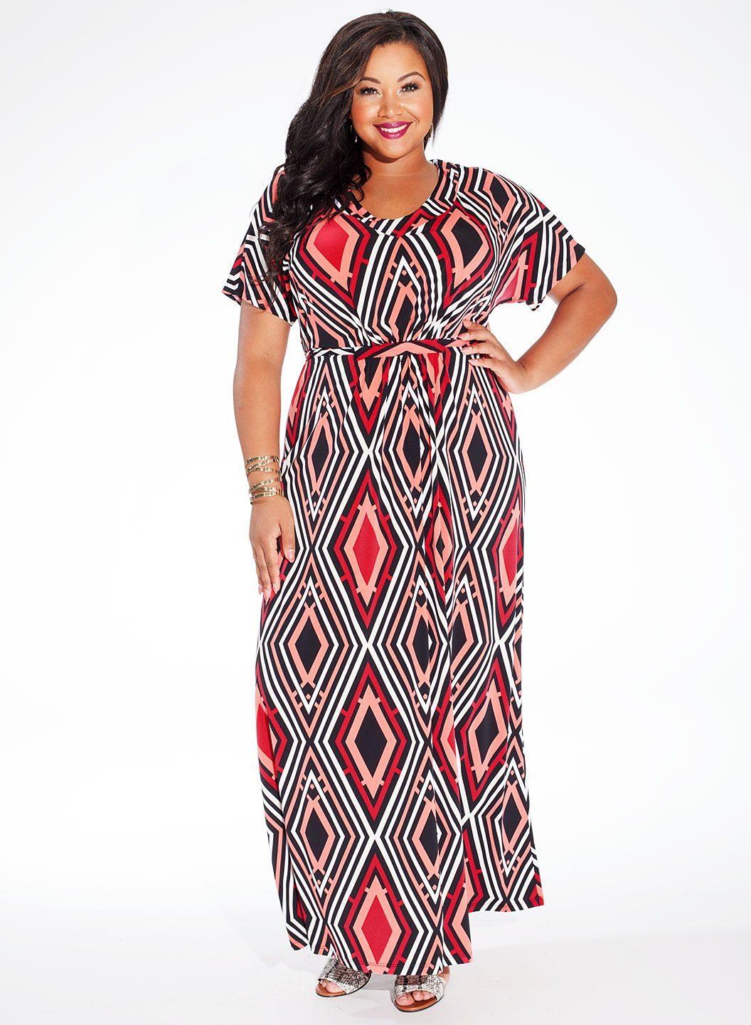 Elissa maxi plus size casual dress in ruby deco clothing plus