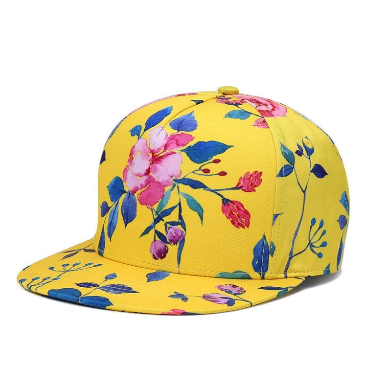 2c865af7263 Flowers bright yellow full color printing snapback hat hip hop cap ...