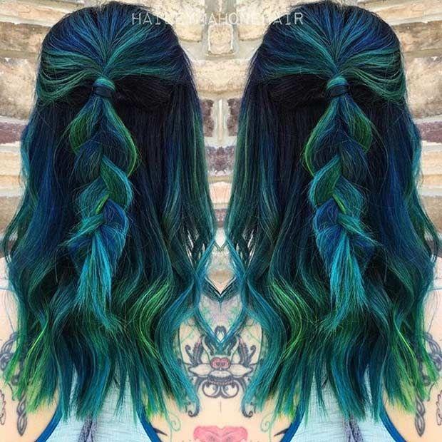 Dark Blue And Dark Green Hair Dark Green Hair Blue Green Hair