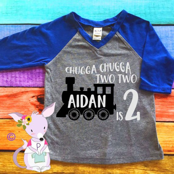 Chugga Two Kids Birthday Shirt Train By PurplePossom