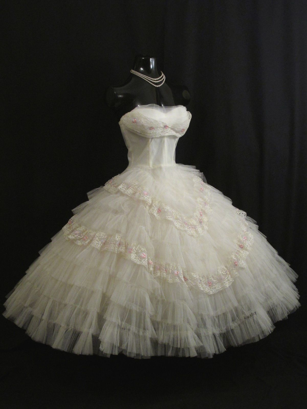 Vintage 1950\'s 50s STRAPLESS White Tulle Prom Party Wedding Bridal ...