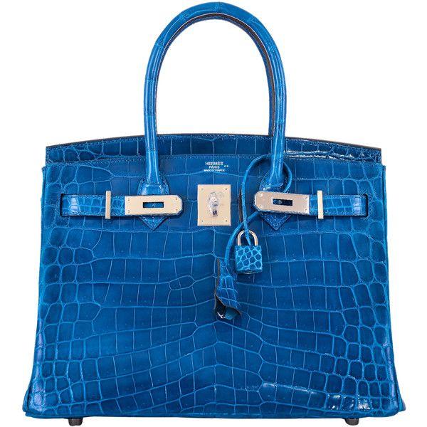 688471fed935 Pre-Owned Hermes Birkin Bag 30cm Blue Izmir Nilo Crocodile Palladium...  (€58.480) ❤ liked on Polyvore featuring bags