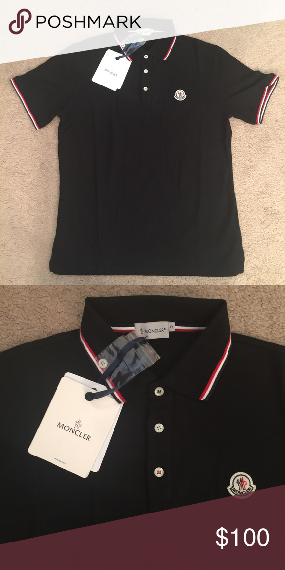 db9fdee18f75 Brand new Moncler polo Brand new men s size large black moncler polo ...