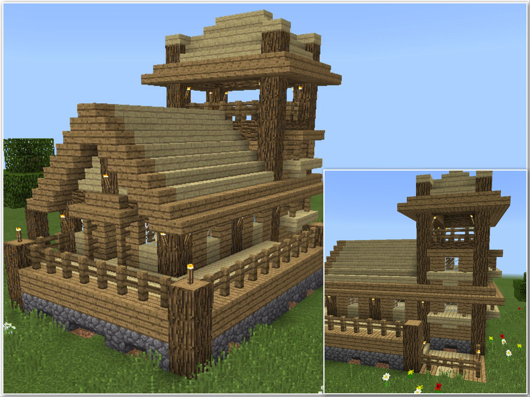 Simple Survival Wood And Cobblestone House Cool Minecraft Houses Minecraft House Designs Minecraft Houses Survival