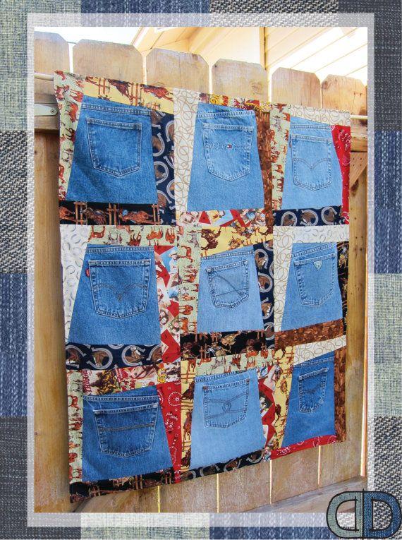Vintage Denim Pocket Patchwork Wall Hanging Quilt by DenimDoOver ... : pocket quilt pattern - Adamdwight.com