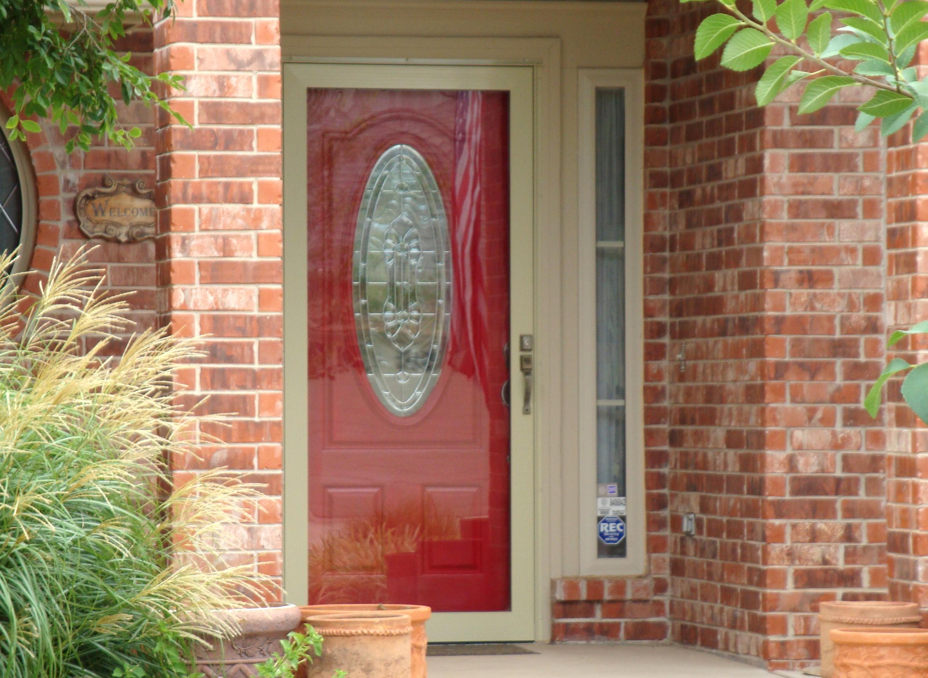 Loving A Red Front Door Better With Light Colored Storm Door In 2020 Storm Door Red Front Door Front Door