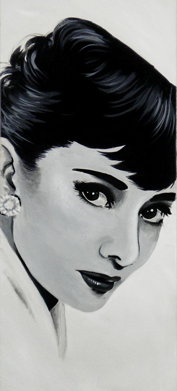 Audrey Hepburn Black and White Celebrity Portrait by faerytalewings on Etsy