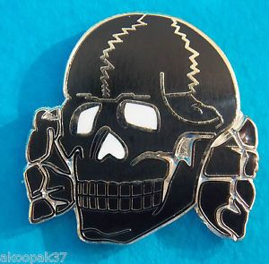 Totenkopf Badge Lapel Badge Silver Plating AND Black Enamel 25mm High With 1 PIN | eBay
