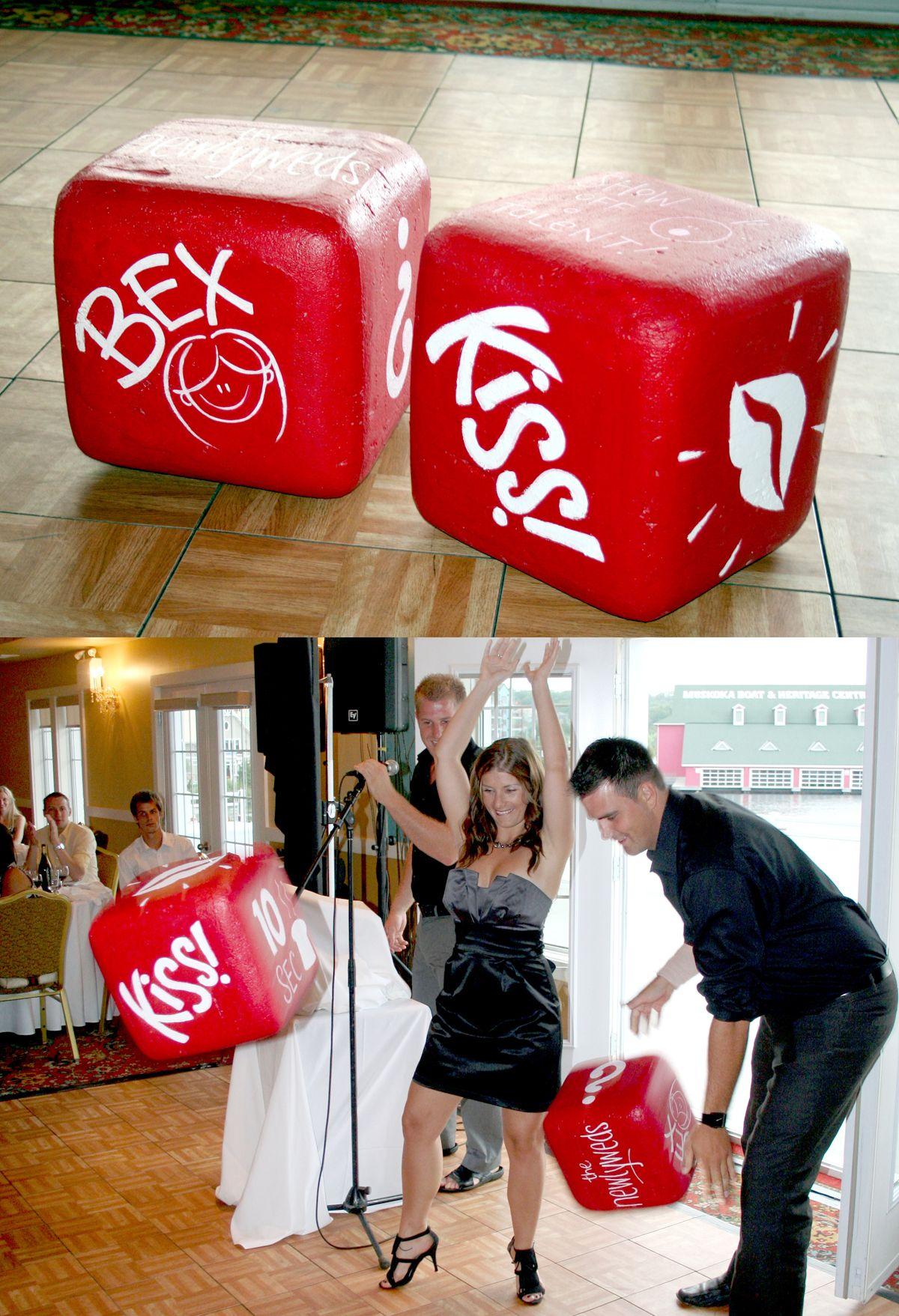 Fun big wedding dice made from Styrofoam!  great game!
