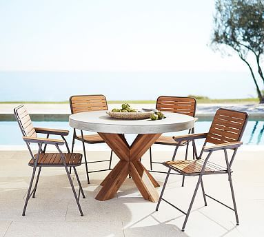Abbott Round Table Brown 4 Tolland Folding Chairs Outdoor Furniture Sets Brown Dining Table Outdoor Dining Set