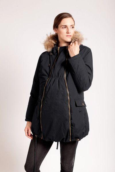 Modern Eternity Winter Parka with Fur trim hood - Black $345