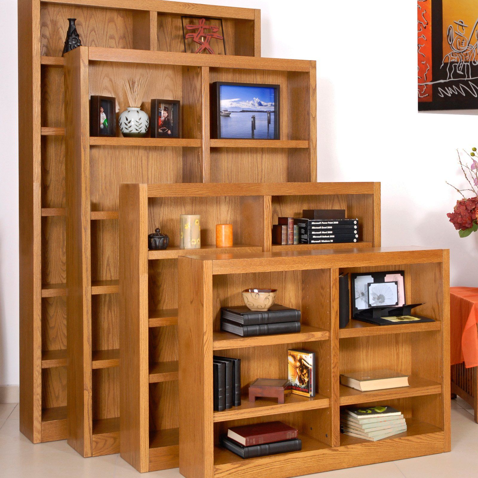 Concepts In Wood Double Wide Veneer Bookcase Red Oak
