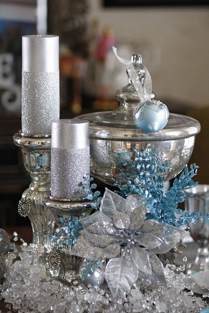 Silver Candles Covered With Glitter On Mercury Glass Candlesticks Christmas Centerpieces Silver Christmas Silver Christmas Decorations
