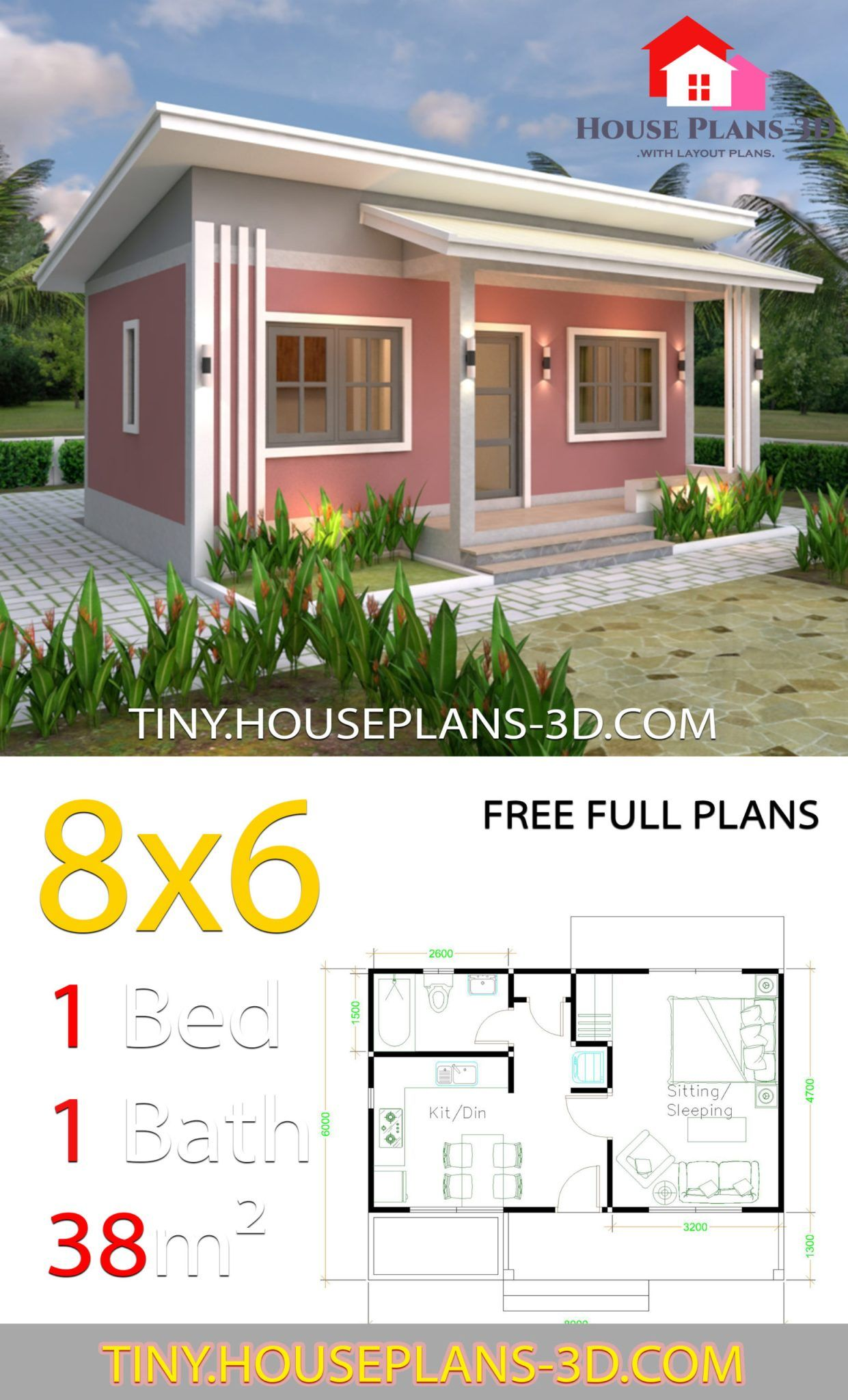 Small House Plans 8x6 With One Bedrooms Shed Roof Tiny House Plans Small House Architecture Architecture House Small House Plans