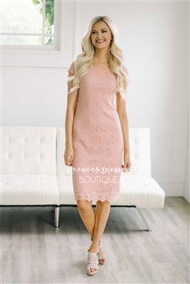 c529848d261 Cute Dusty Rose Lace Modest Dress Bridesmaids Dress