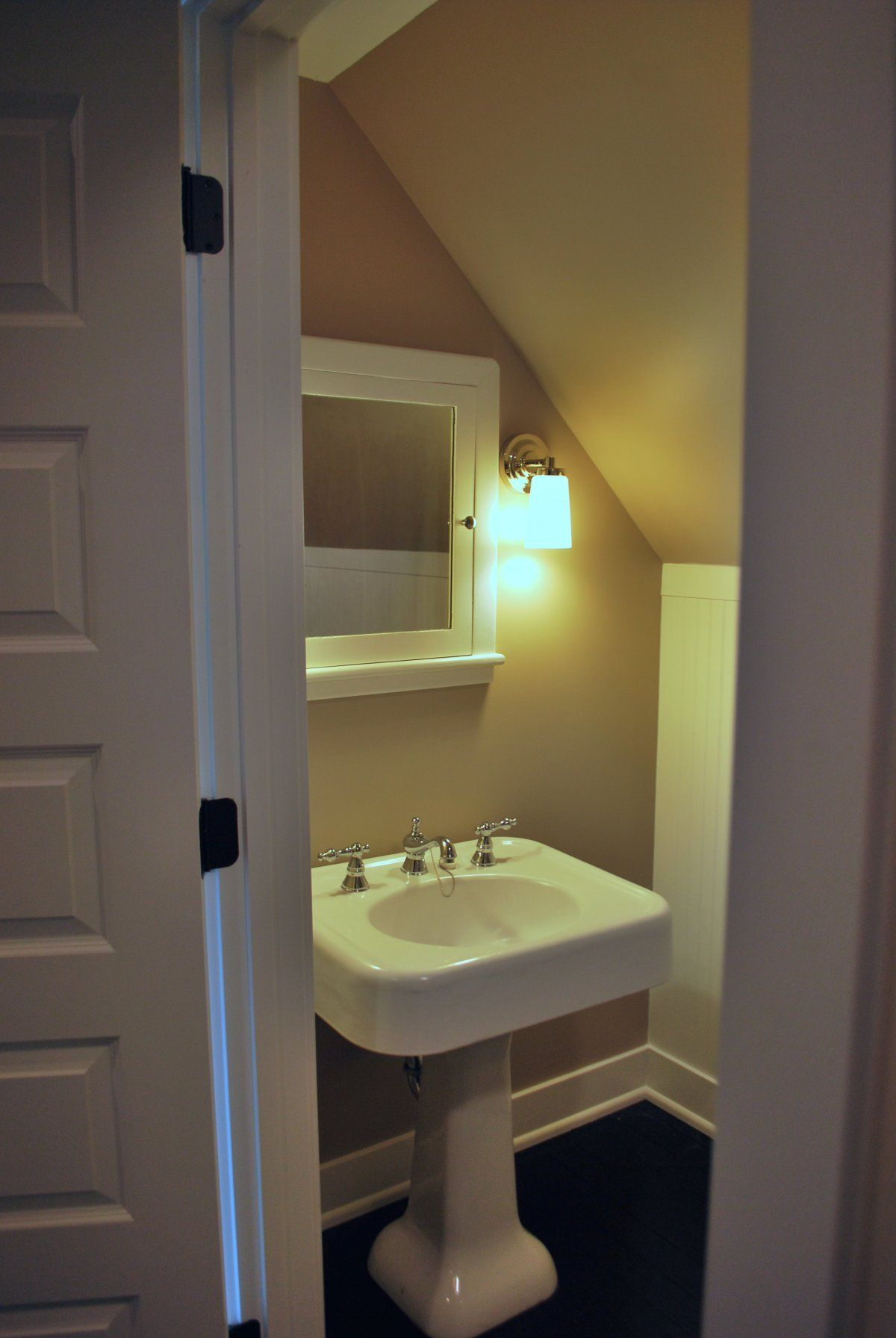Bedroom Small Attic Bathroom Design With Wall Mounted Lamps