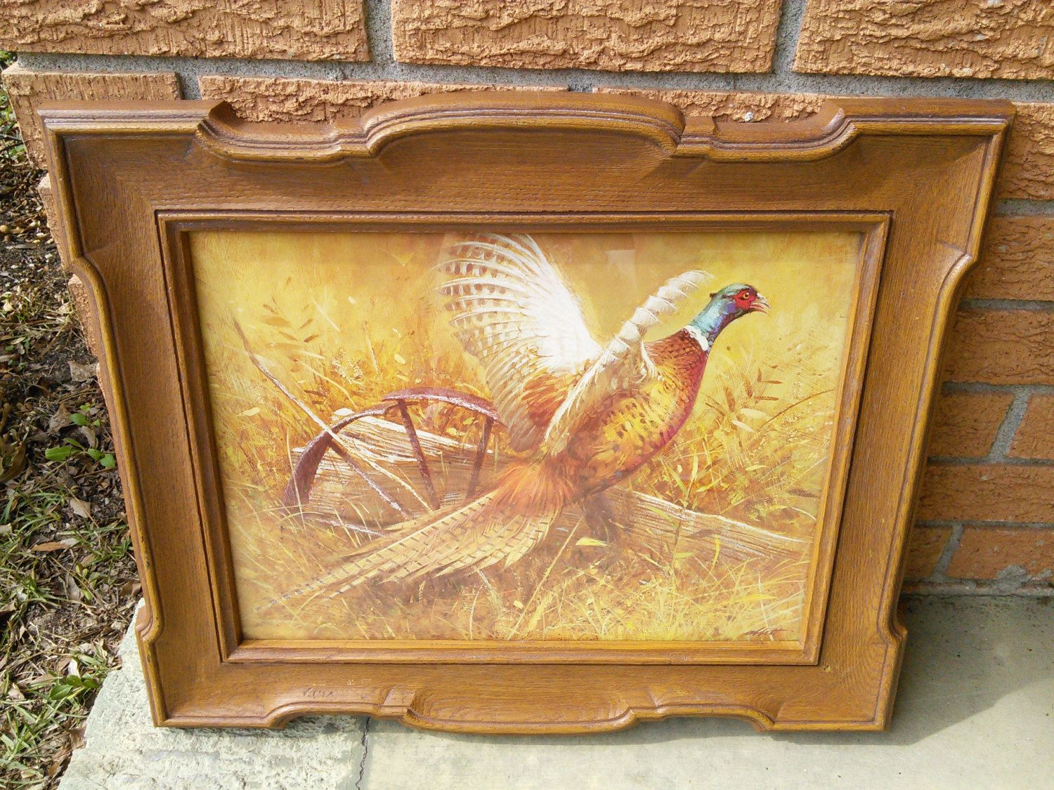 Vintage Pheasant Print Picture Wall Hanging Syroco, Inc. Homco ...