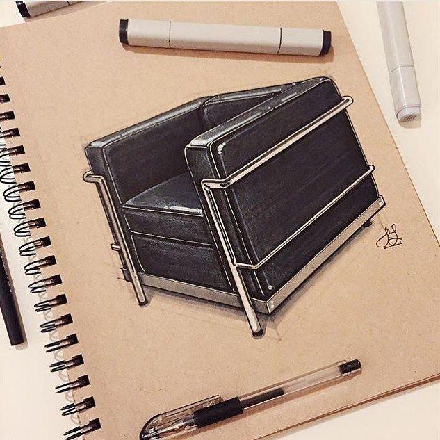 Le Industrial Design le corbusiers 1929 lc 2 sketch furniture chair 600 design