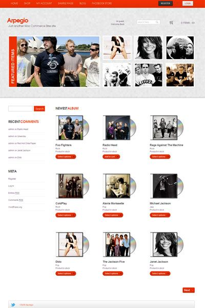 Arpegio Wordpress Theme for Online Music Store to Sell or Buy | Best ...