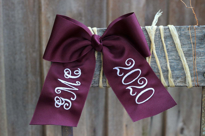 Embroidered Cheer Bow - Monogram Hair Bow - Graduation Bow - Year Bow - Custom Bow - Monogrammed Bow - graduation cap bow by BubblegumDaisy on Etsy