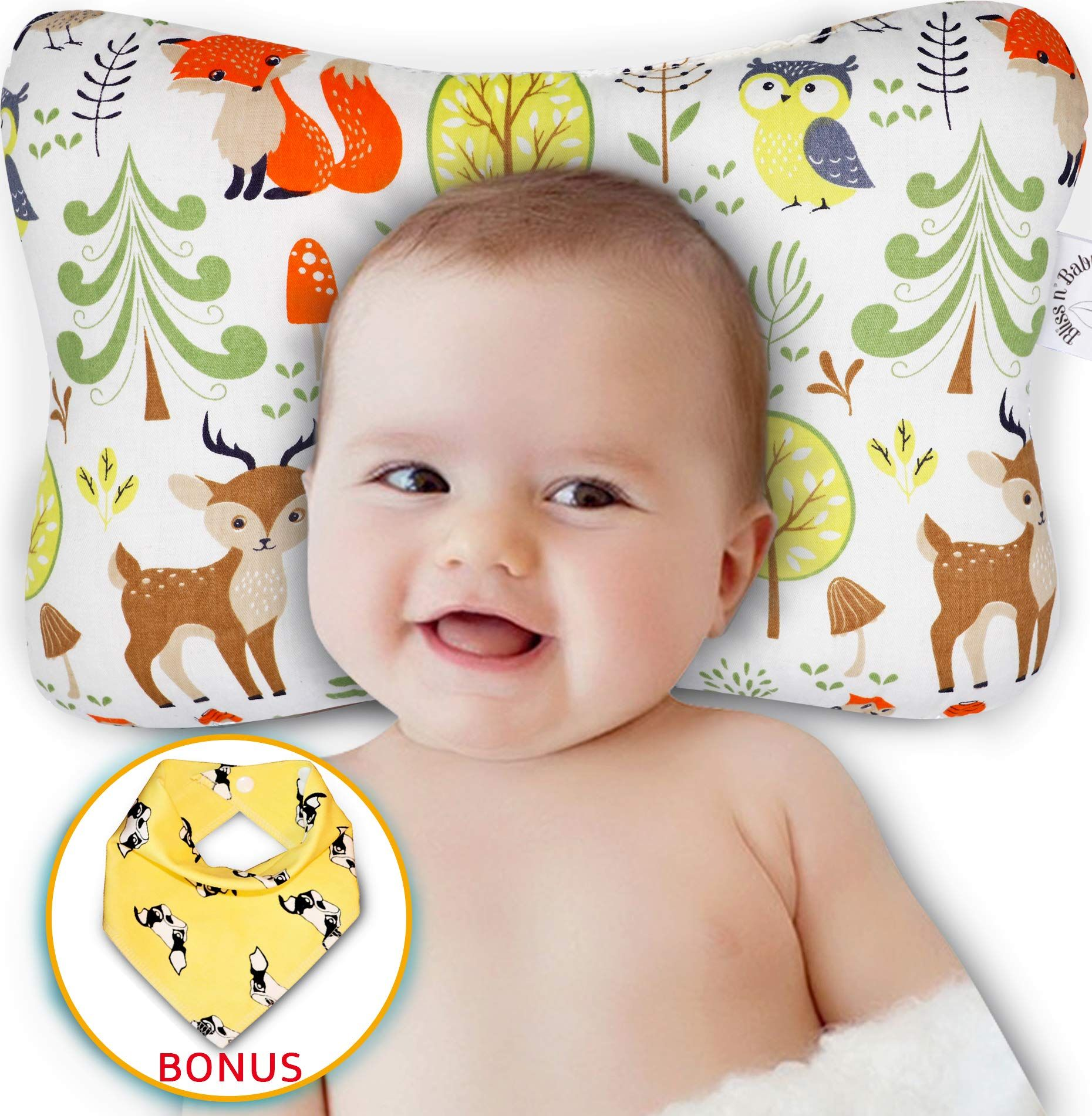 Baby Head Shaping Pillow Flat Head And Reflux Prevention For Newborn Infants Organic Cotton Hypoallergenic 3d Brea In 2020 Baby Pillows Baby Head Best Baby Cribs