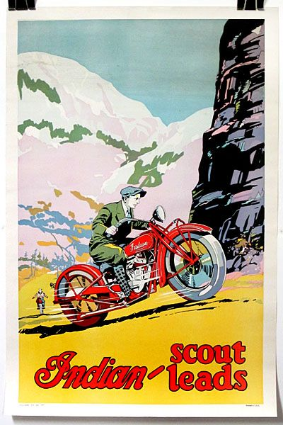 The 101 Scout, introduced in 1929 and produced in this fashion only until 1932 considered one of the greatest of all Indian motorcycles. 1930.