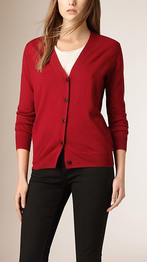 3b61294241169 Check Detail Merino Wool Cardigan in Parade Red - Women