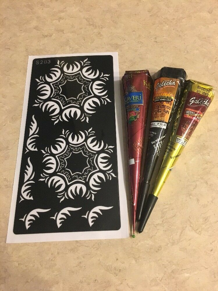 Henna stencil kit for body art tattoo dyi s203 3