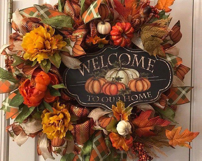 Photo of NEW Made to Order Sunflower Grapevine Wreath/Front Door Wreath/Monogram Wreath/F…