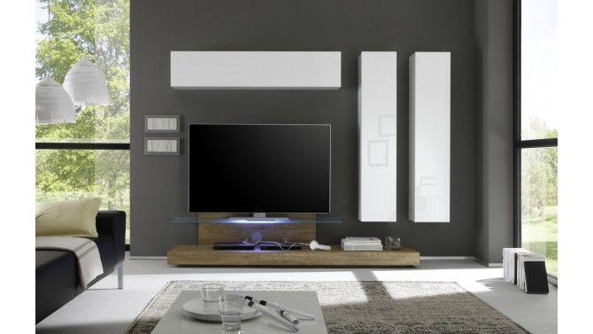 Ensemble Meuble Tv Design Led Bois Et Laque Blanc Upton Gdegdesign Meuble Tv Design Ensemble Meuble Tv Meuble Tv