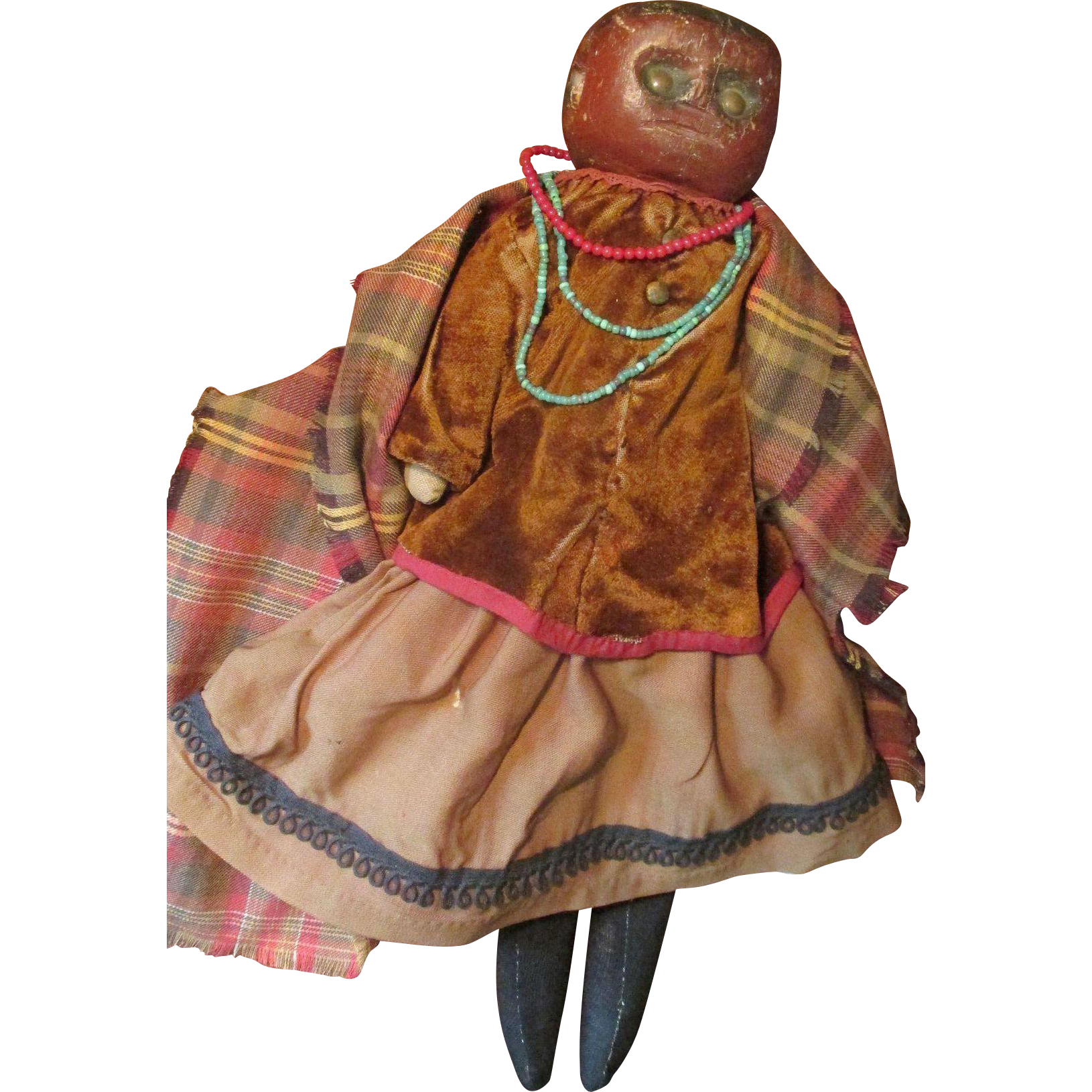 Rare Early 1800s Bed Post Wooden Native American Indian Doll * Museum Worthy #indianbeddoll