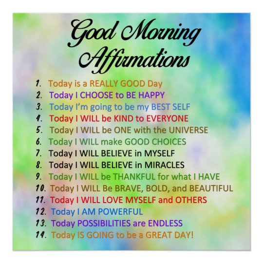 14 Good Morning Affirmations - Positive Thinking Poster | Zazzle.com